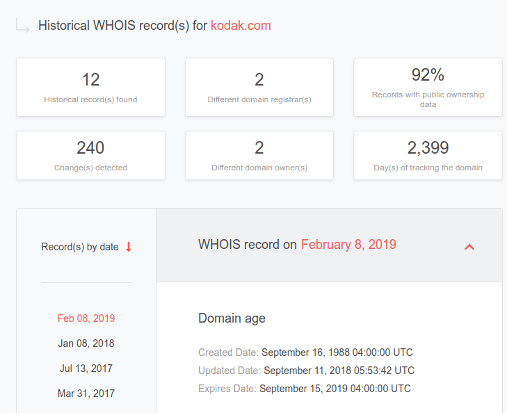 Historic WHOIS search | Domain Research Suite
